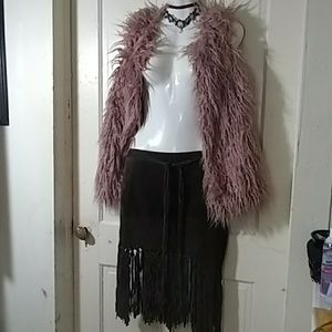 100% leather  chocolate brown fringe skirt by Bebe